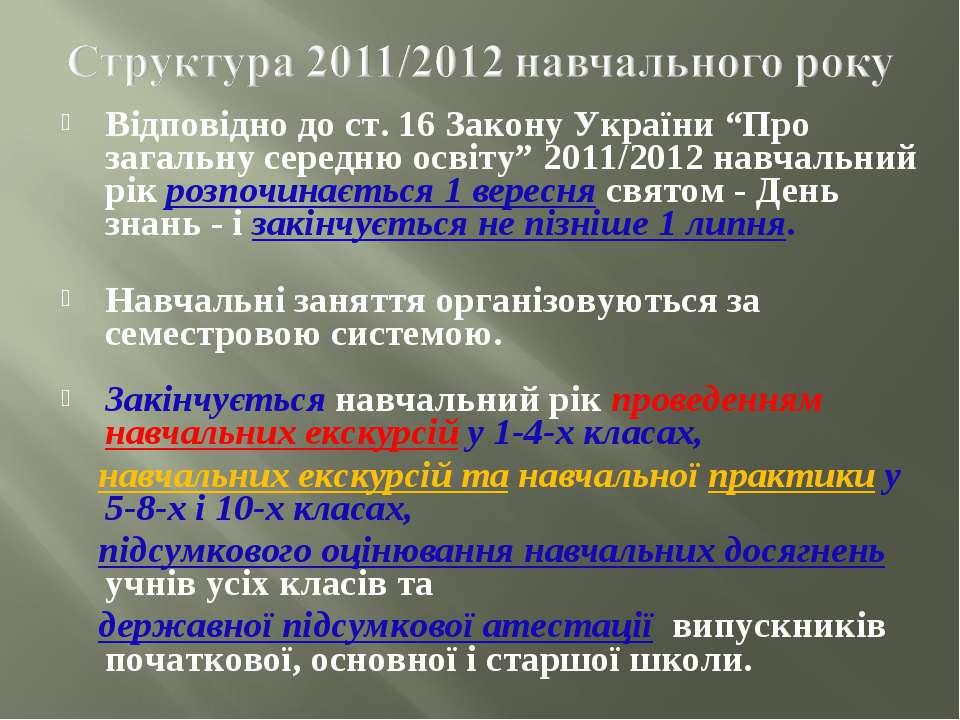 """Відповідно до ст. 16 Закону України """"Про загальну середню освіту"""" 2011/2012 н..."""