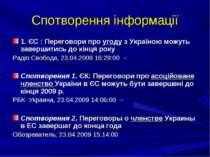 Спотворення інформації 1. ЄС : Переговори про угоду з Україною можуть заверши...