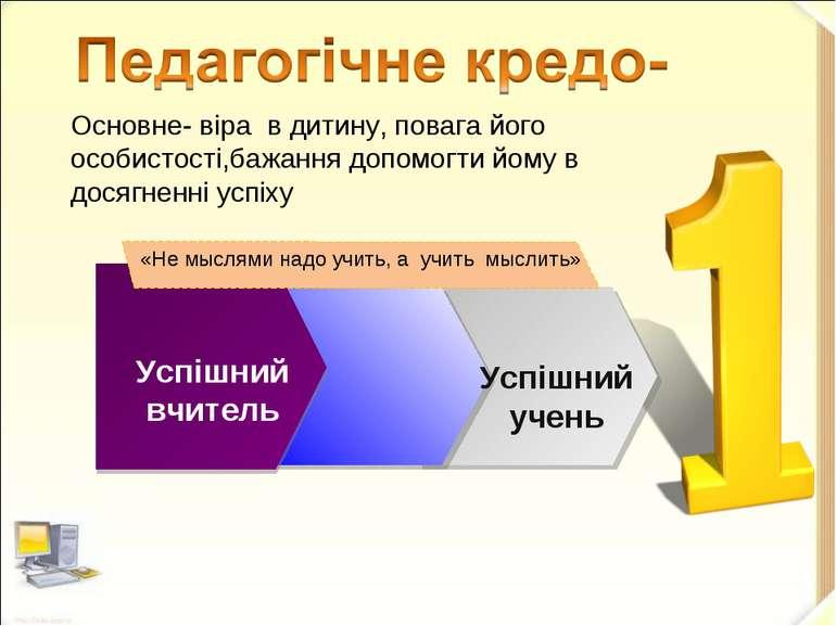 Успішний вчитель Успішний учень «Не мыслями надо учить, а учить мыслить» Осно...