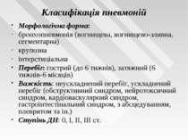 Класифікація пневмоній Морфологічна форма: бронхопневмонія (вогнищева, вогнищ...