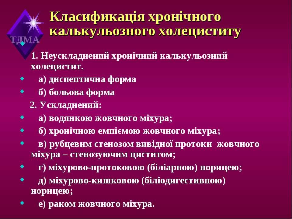 Класификація хронічного калькульозного холециститу 1. Неускладнений хронічний...