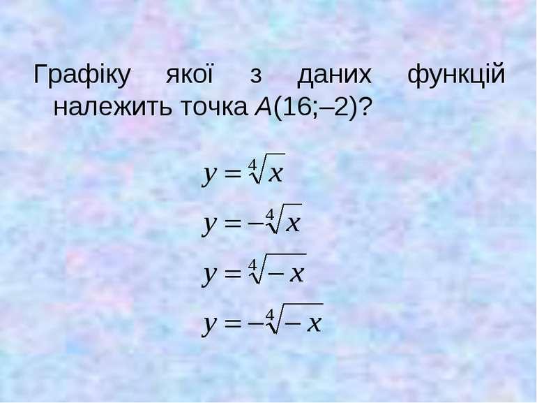 Графіку якої з даних функцій належить точка А(16;–2)?