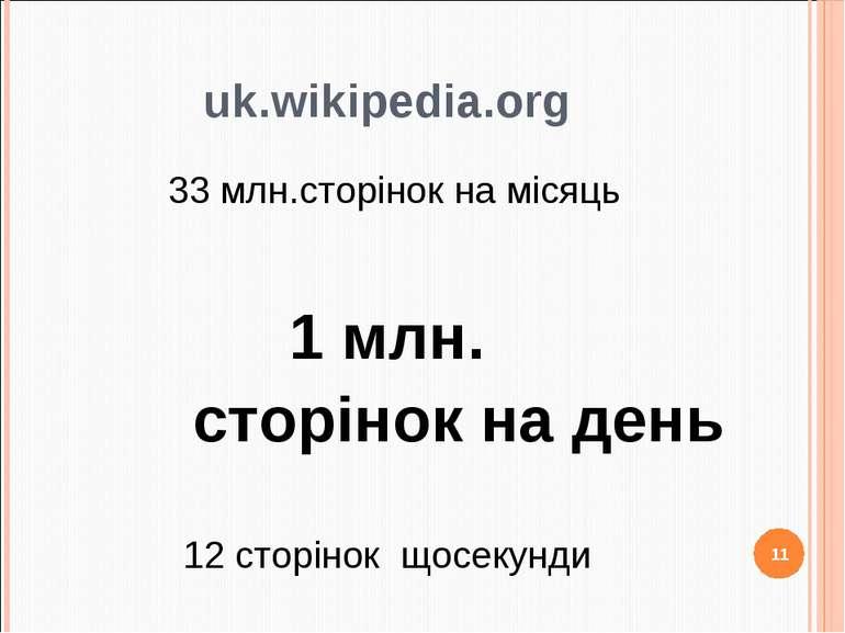 uk.wikipedia.org 33 млн.сторінок на місяць 1 млн. сторінок на день 12 сторіно...