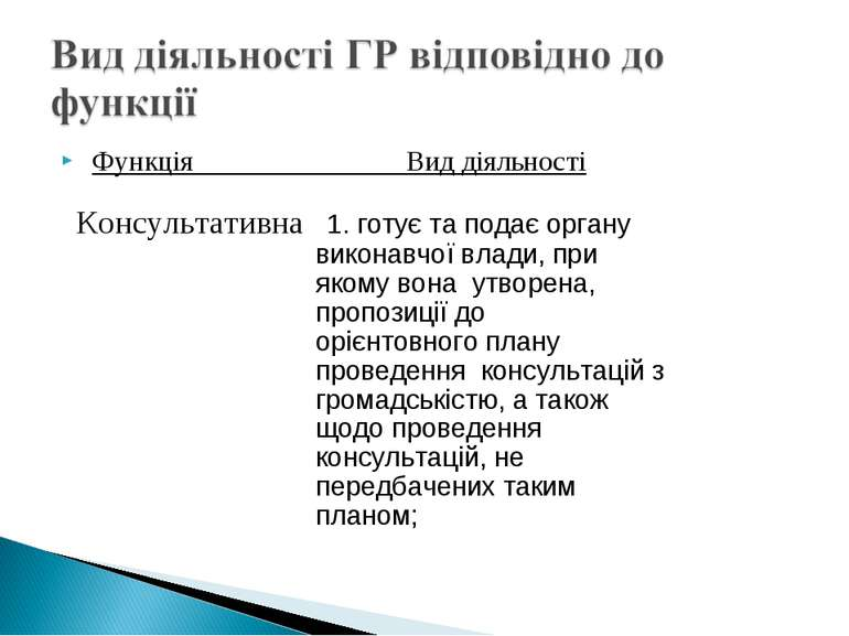 Функція Вид діяльності Консультативна 1. готує та подає органу виконавчої вла...