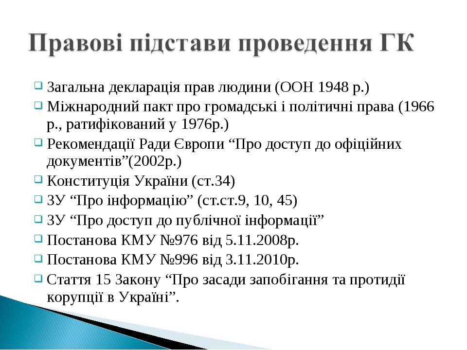 Загальна декларація прав людини (ООН 1948 р.) Міжнародний пакт про громадські...
