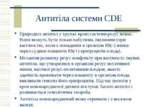 Антитіла системи СDE Природніх антитіл у групах крові системи резус немає. Во...