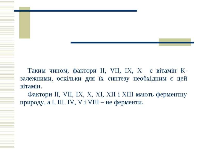 Таким чином, фактори ІІ, VII, ІХ, Х є вітамін К-залежними, оскільки для їх си...