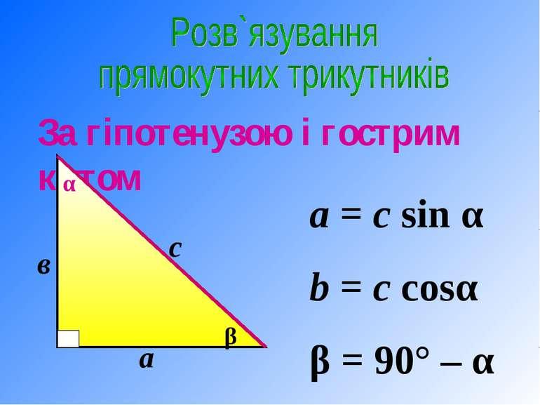 а = c sin α b = c cosα β = 90° – α За гіпотенузою і гострим кутом α