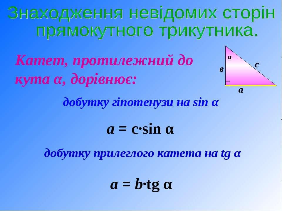 Катет, протилежний до кута α, дорівнює: добутку гіпотенузи на sin α добутку п...