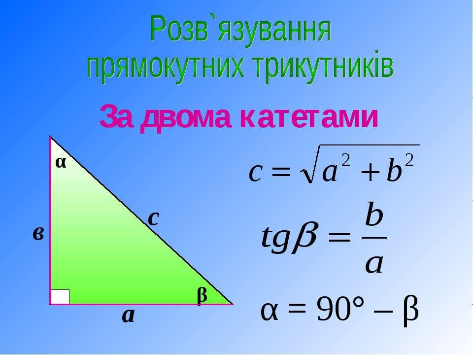 За двома катетами α = 90° – β