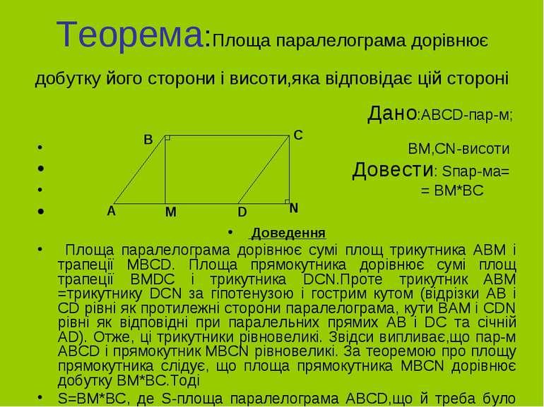 Теорема:Площа паралелограма дорівнює добутку його сторони і висоти,яка відпов...