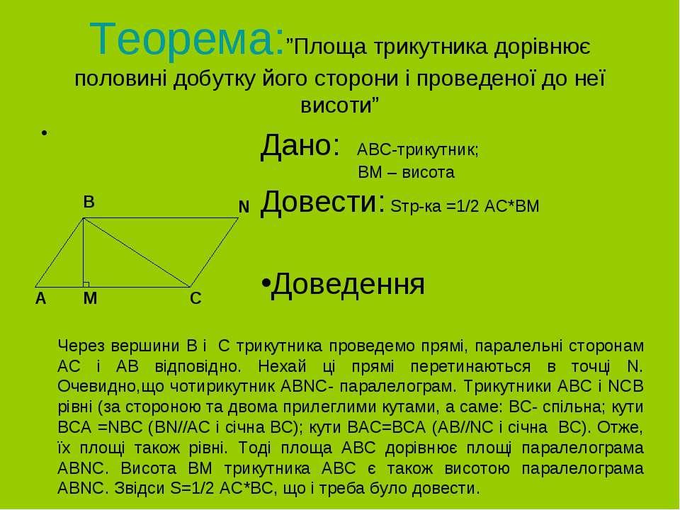 """Теорема:""""Площа трикутника дорівнює половині добутку його сторони і проведеної..."""