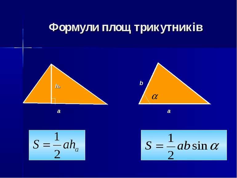 Формули площ трикутників a ha a b