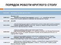 ПОРЯДОК РОБОТИ КРУГЛОГО СТОЛУ 9.30-10.00 Реєстрація учасників круглого столу ...