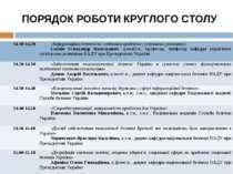 ПОРЯДОК РОБОТИ КРУГЛОГО СТОЛУ 14.10-14.20 «Інформаційна безпека як глобальна ...