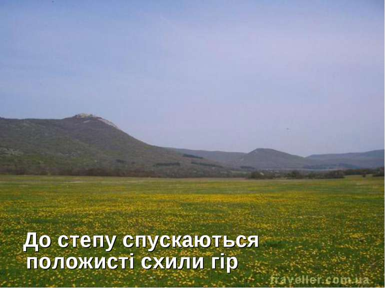 До степу спускаються положисті схили гір