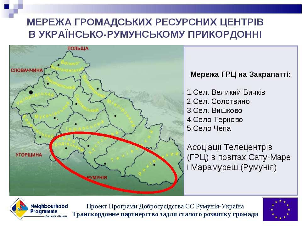 МЕРЕЖА ГРОМАДСЬКИХ РЕСУРСНИХ ЦЕНТРІВ В УКРАЇНСЬКО-РУМУНСЬКОМУ ПРИКОРДОННІ