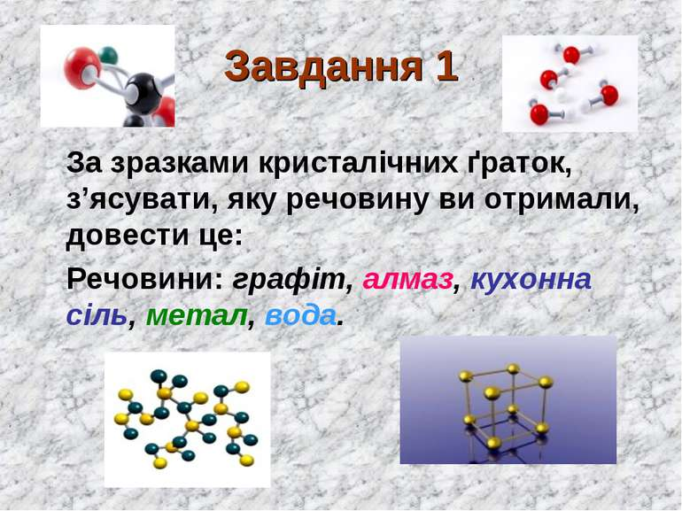 Завдання 1 За зразками кристалічних ґраток, з'ясувати, яку речовину ви отрима...