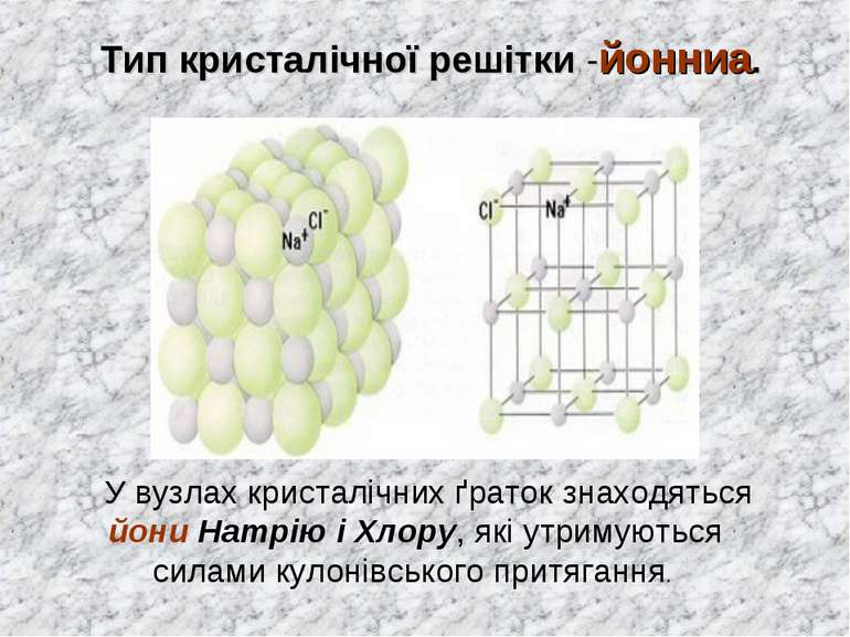 Тип кристалічної решітки -йонниа. У вузлах кристалічних ґраток знаходяться йо...
