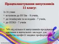 Працевлаштування випускників 11 класу: Із 31 учня: вступили до ВУЗів – 9 учні...