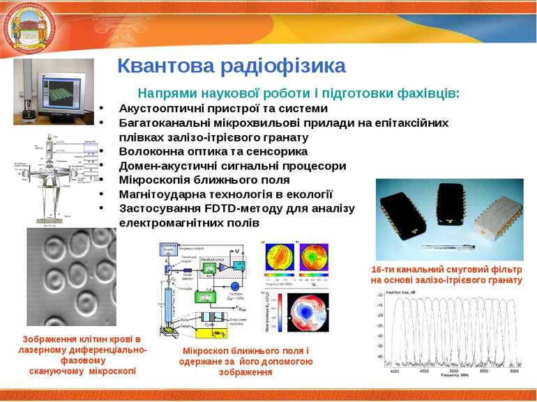 Квантова радіофізика Напрями наукової роботи і підготовки фахівців: Акустоопт...