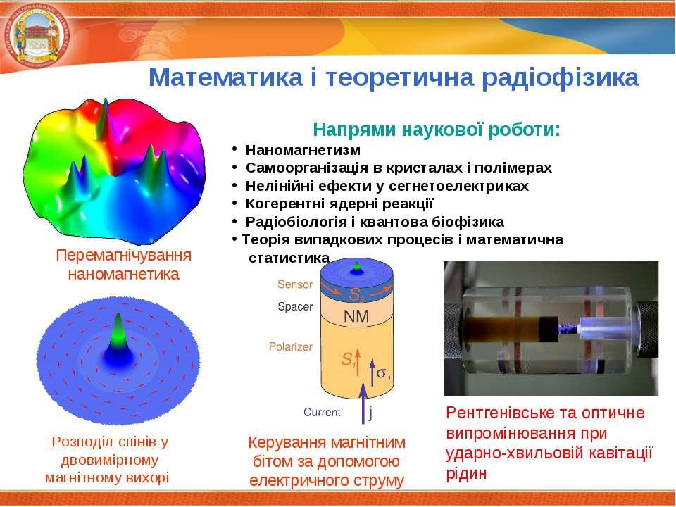 Математика і теоретична радіофізика Напрями наукової роботи: Наномагнетизм Са...