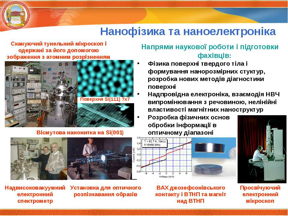 Нанофізика та наноелектроніка Напрями наукової роботи і підготовки фахівців: ...