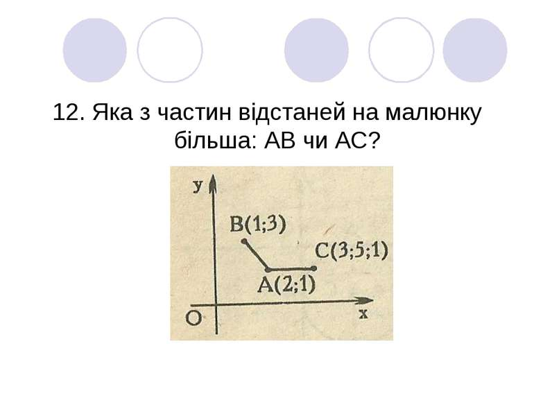 12. Яка з частин відстаней на малюнку більша: АВ чи АС?