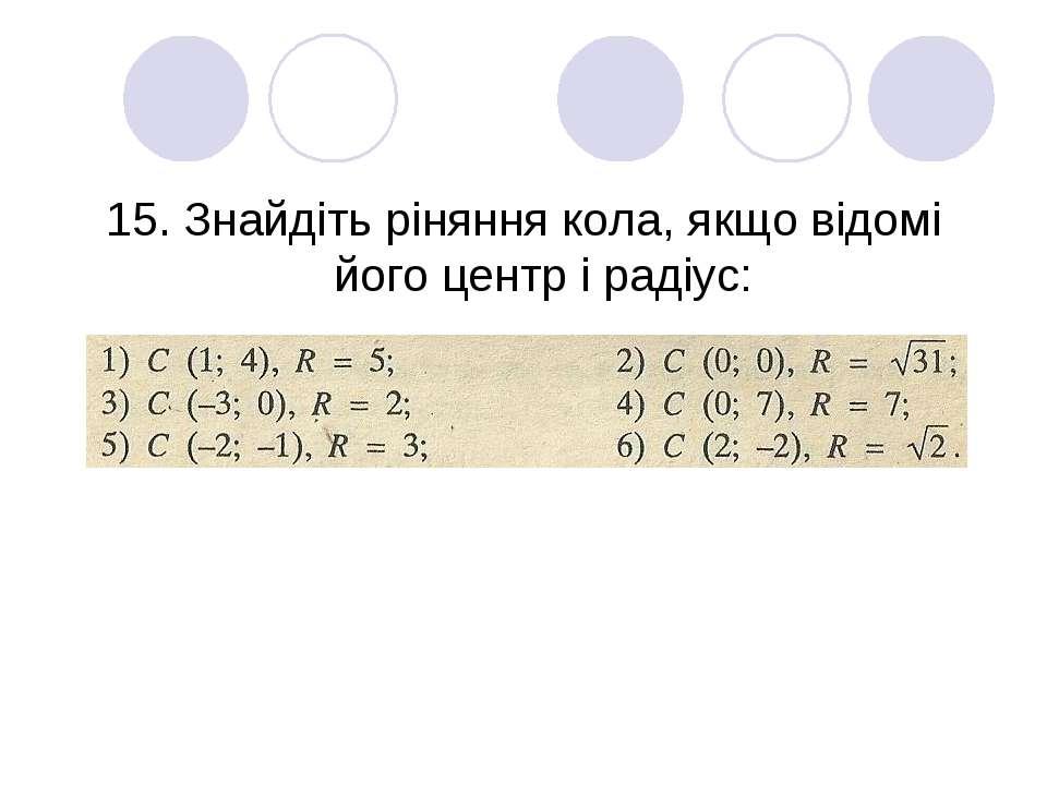 15. Знайдіть ріняння кола, якщо відомі його центр і радіус: