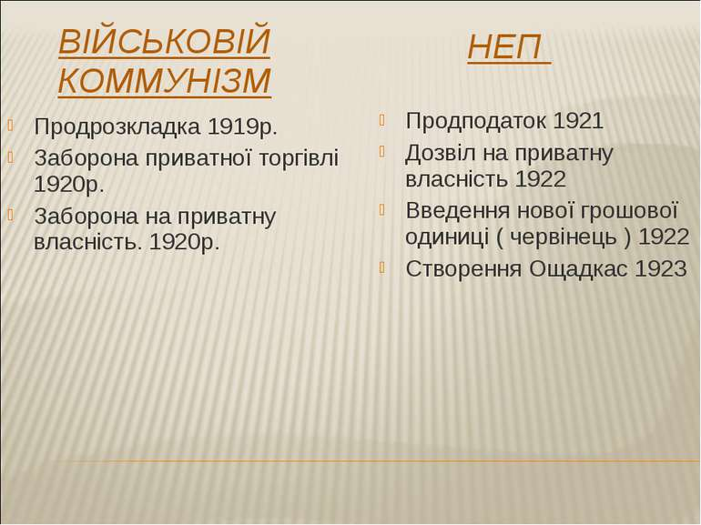 НЕП ВІЙСЬКОВІЙ КОММУНІЗМ Продподаток 1921 Дозвіл на приватну власність 1922 В...