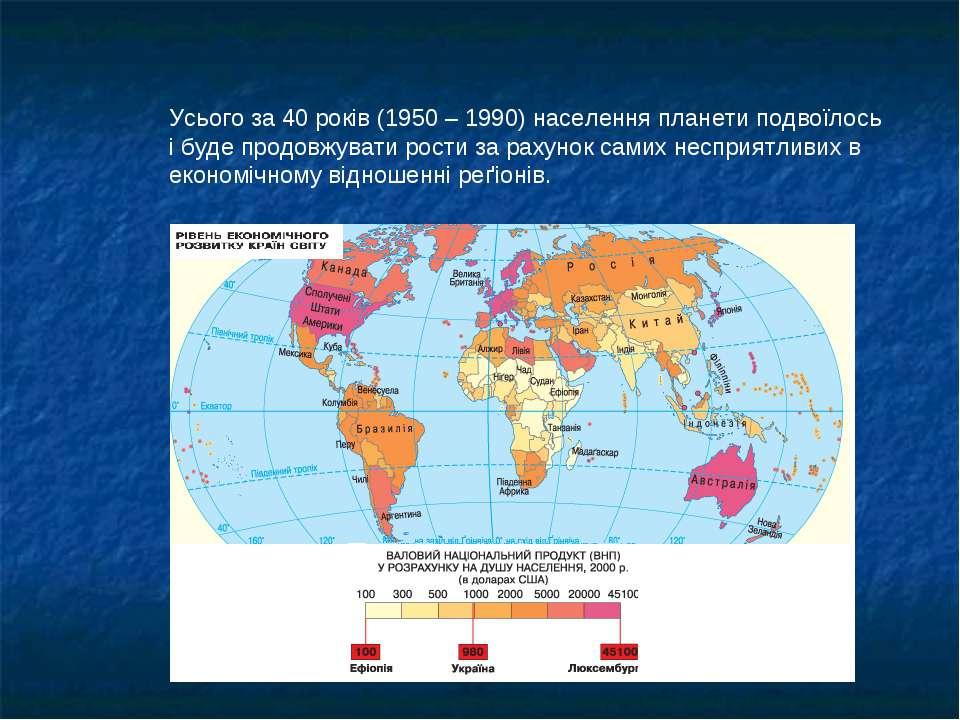 Усього за 40 років (1950 – 1990) населення планети подвоїлось і буде продовжу...
