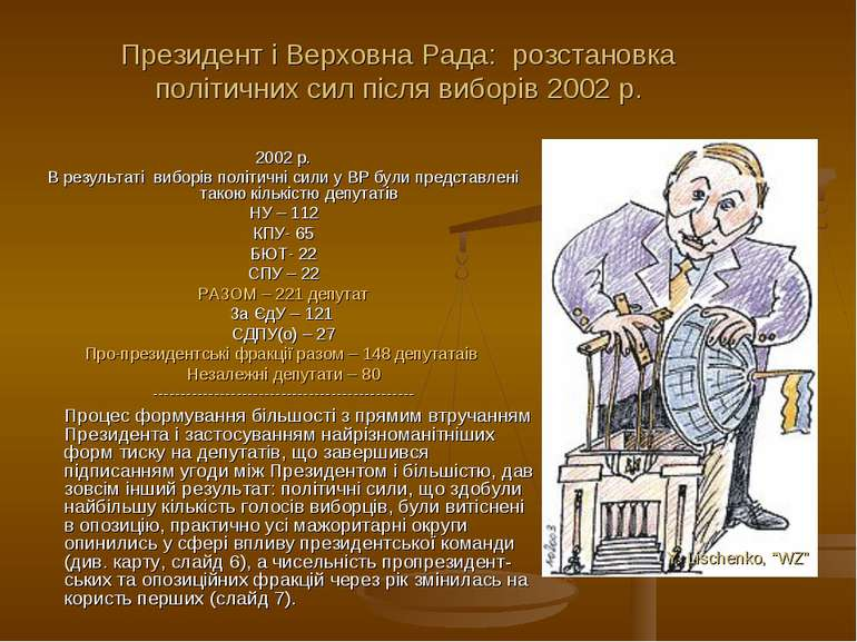 2002 р. В результаті виборів політичні сили у ВР були представлені такою кіль...