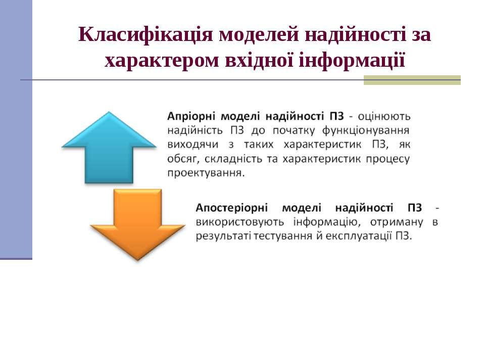 Класифікація моделей надійності за характером вхідної інформації