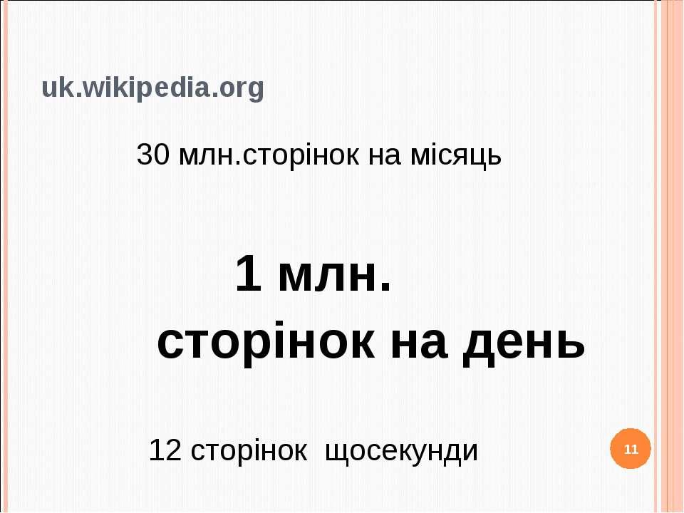 uk.wikipedia.org 30 млн.сторінок на місяць 1 млн. сторінок на день 12 сторіно...
