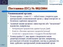 Слайд * Постанова (EC) № 882/2004 Уповноважені органи Кожна країна – член ЄС ...