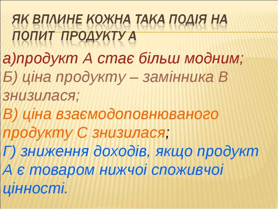 а)продукт А стає більш модним; Б) цiна продукту – замiнника В знизилася; В) ц...
