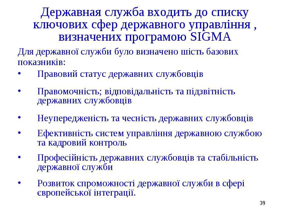* Державная служба входить до списку ключових сфер державного управління , ви...