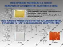 Нові плівкові матеріали на основі полімерних четвертинних амонієвих солей Пл...