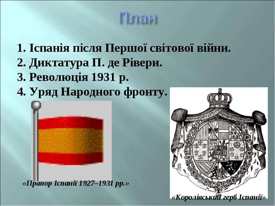 1. Іспанія після Першої світової війни. 2. Диктатура П. де Рівери. 3. Революц...