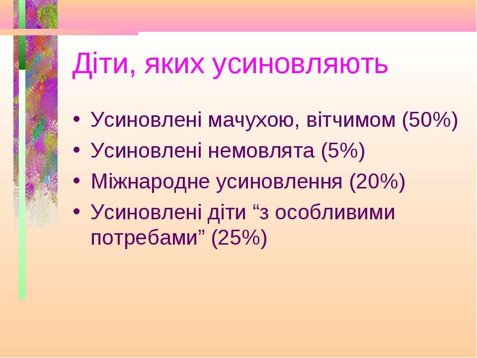 Діти, яких усиновляють Усиновлені мачухою, вітчимом (50%) Усиновлені немовлят...
