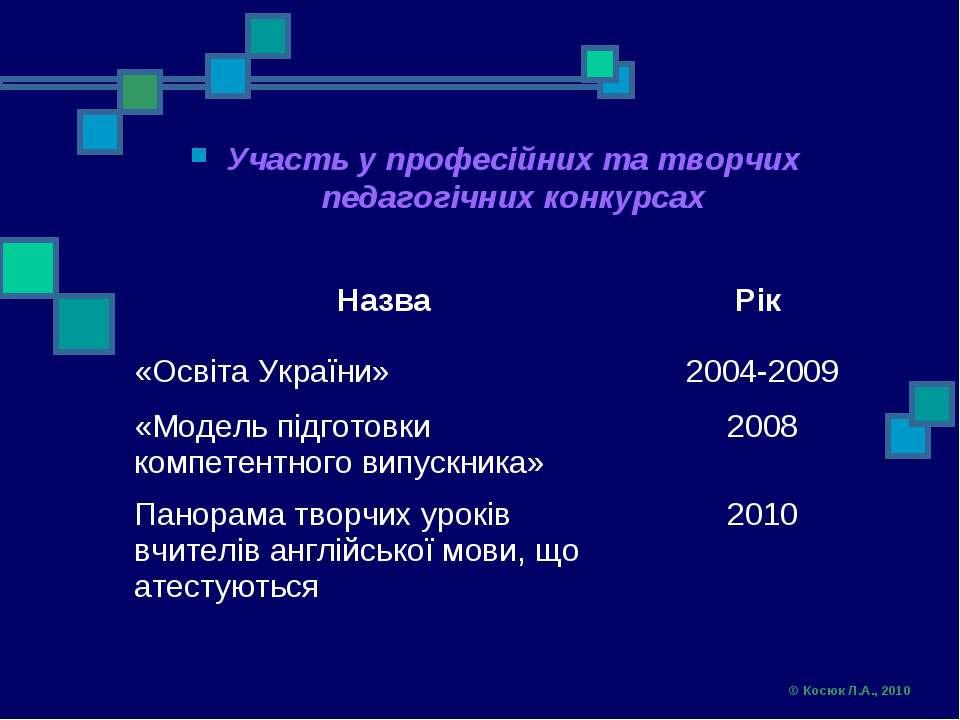 Участь у професійних та творчих педагогічних конкурсах © Косюк Л.А., 2010