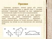 Призми Призмами називають оптичні деталі або оптичні системи деталей (об'єдна...
