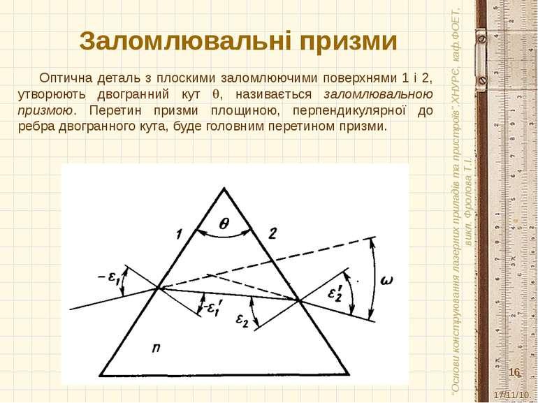 Заломлювальні призми Оптична деталь з плоскими заломлюючими поверхнями 1 і 2,...