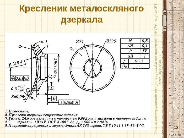 """Кресленик металоскляного дзеркала 17/11/10. """"Основи конструювання лазерних пр..."""