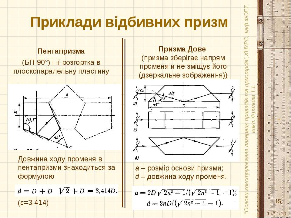 Приклади відбивних призм Пентапризма (БП-90°) і її розгортка в плоскопаралель...