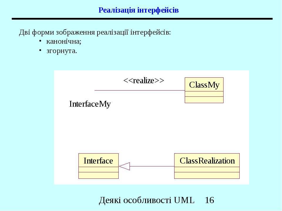 Реалізація інтерфейсів Дві форми зображення реалізації інтерфейсів: канонічна...
