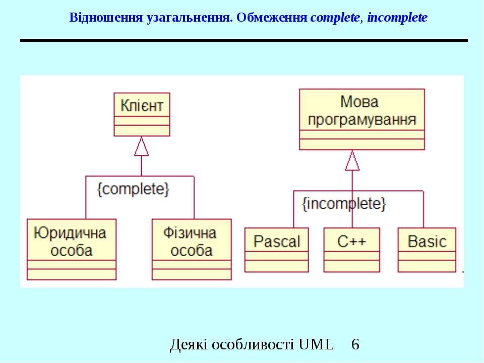 Відношення узагальнення. Обмеження complete, incomplete Деякі особливості UML