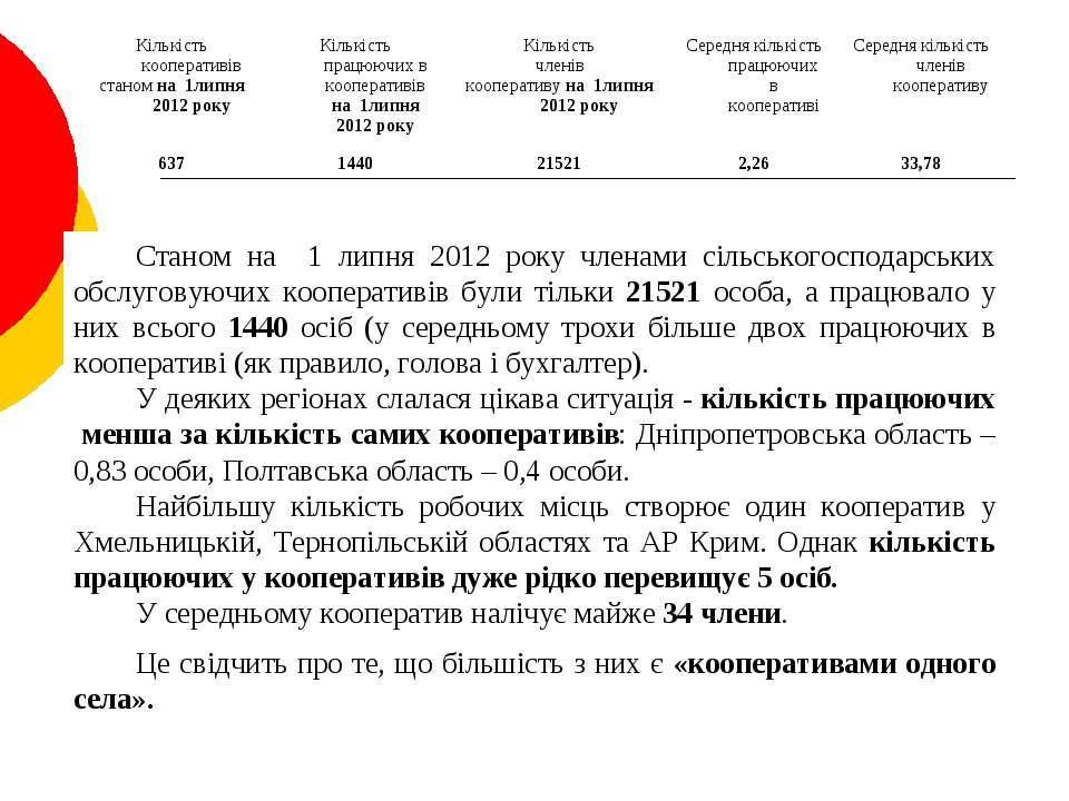Станом на 1 липня 2012 року членами сільськогосподарських обслуговуючих коопе...