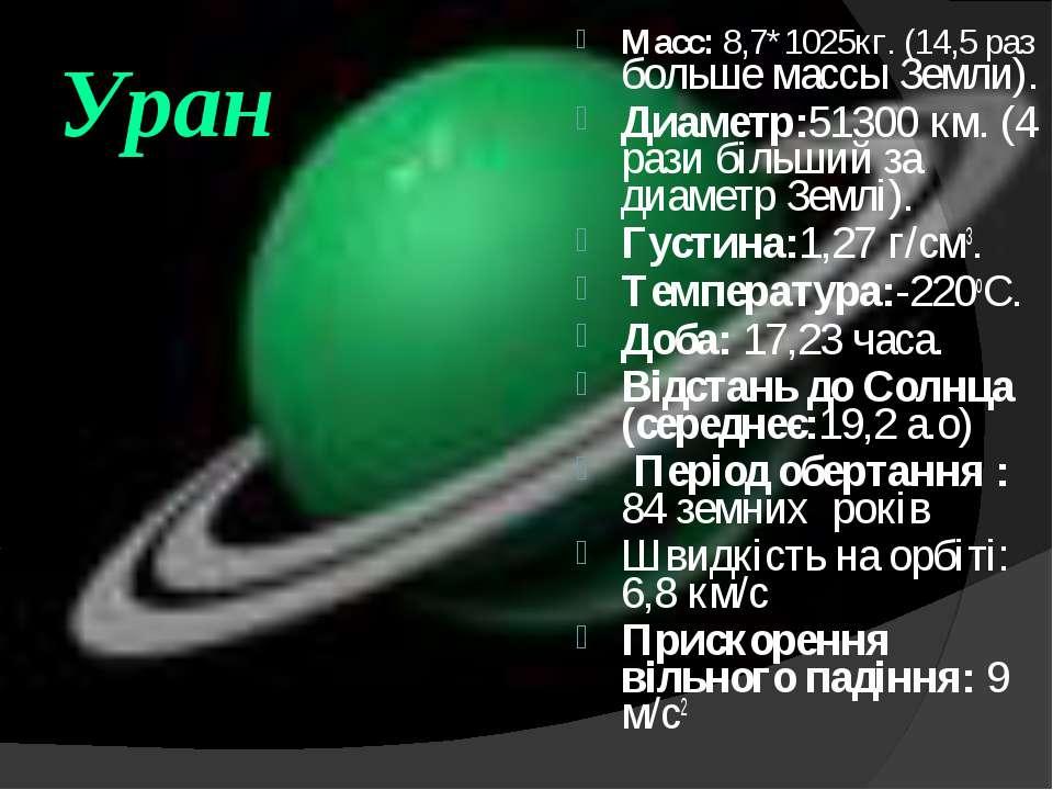 Уран Macc: 8,7*1025кг. (14,5 раз больше массы Земли). Диаметр:51300 км. (4 ра...