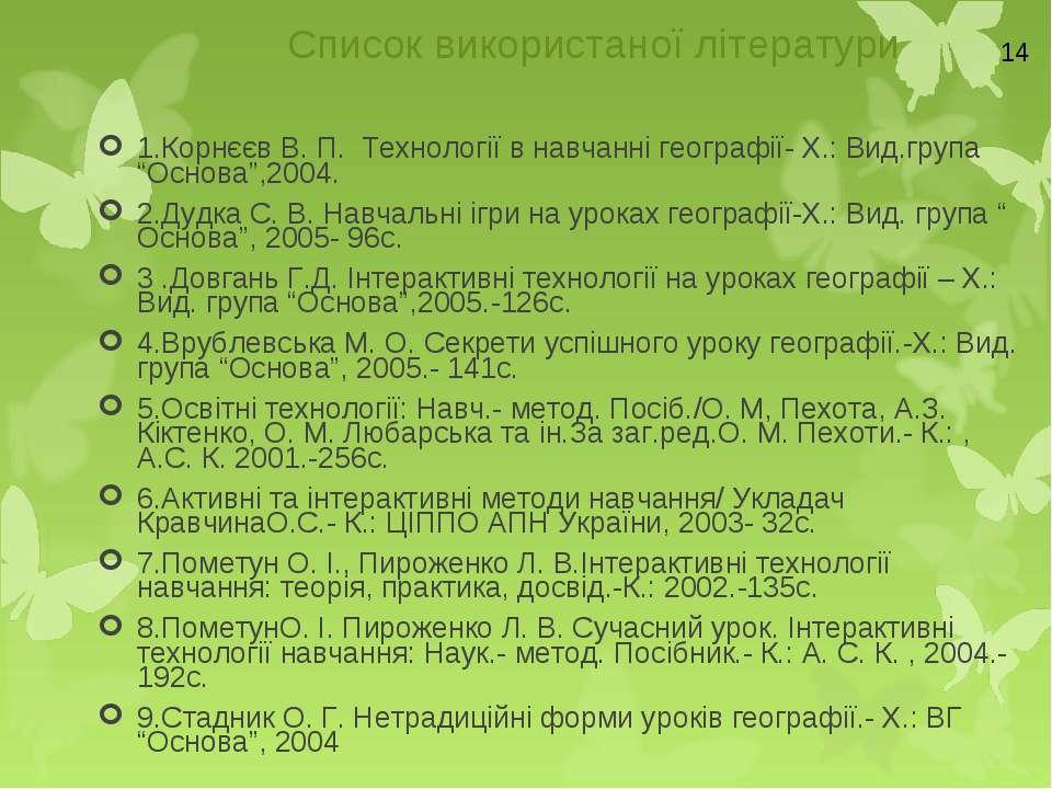 Список використаної літератури 1.Корнєєв В. П. Технології в навчанні географі...